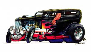 Del Swanson 32 Ford Sedan toon